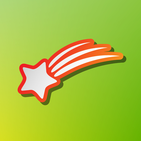 starfall: Shooting star sign. Contrast icon with reddish stroke on green backgound.
