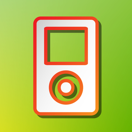 Portable music device. Contrast icon with reddish stroke on green backgound.