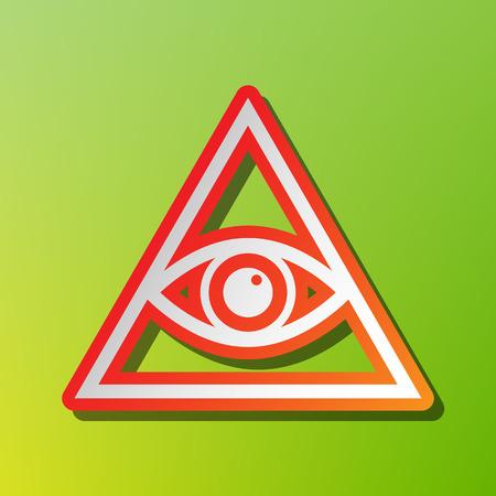 ojo de horus: Todo lo ve símbolo de la pirámide del ojo. Masón y espiritual. icono contraste con el movimiento rojiza en el backgound verde. Vectores