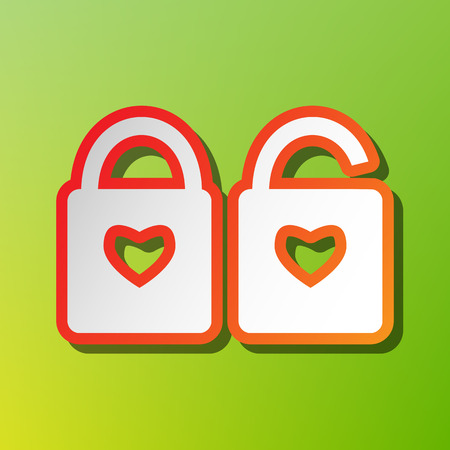 door lock love: lock sign with heart shape. A simple silhouette of the lock. Shape of a heart. Contrast icon with reddish stroke on green backgound.
