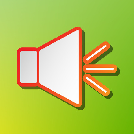 volume control: Sound sign illustration with mute mark. Contrast icon with reddish stroke on green backgound. Illustration