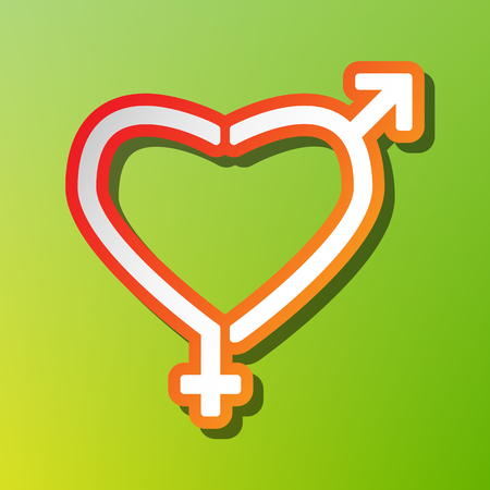 Gender signs in heart shape. Contrast icon with reddish stroke on green backgound.