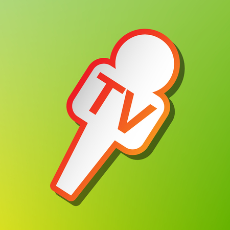 TV microphone sign illustration. Contrast icon with reddish stroke on green backgound.