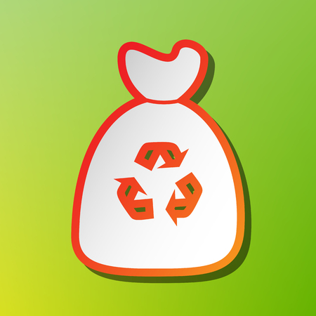 segregate: Trash bag icon. Contrast icon with reddish stroke on green backgound.