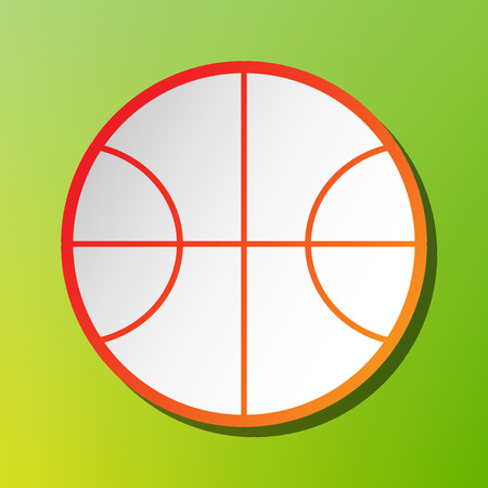 Basketball ball sign illustration. Contrast icon with reddish stroke on green backgound.