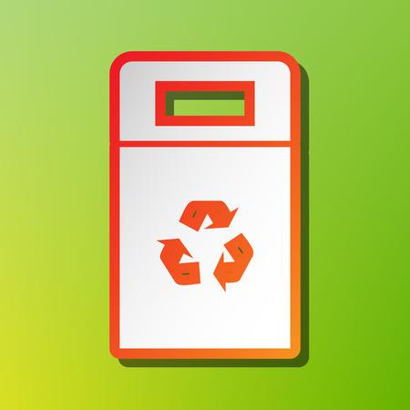 trashcan: Trashcan sign illustration. Contrast icon with reddish stroke on green backgound.