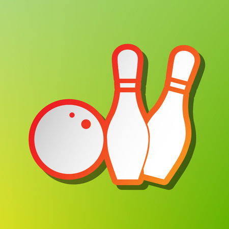Bowling sign illustration. Contrast icon with reddish stroke on green backgound.