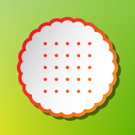 scone: Pyramid sign illustration. Contrast icon with reddish stroke on green backgound.