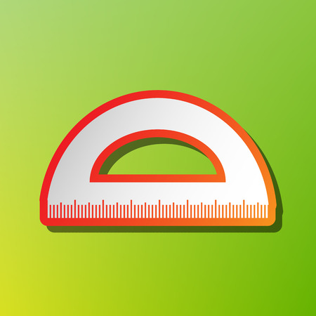 Ruler sign illustration. Contrast icon with reddish stroke on green backgound.