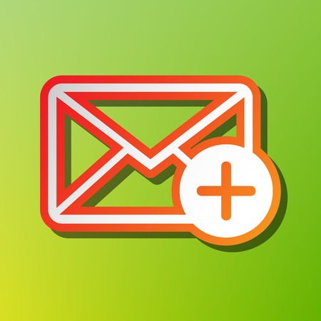 Mail sign illustration with add mark. Contrast icon with reddish stroke on green backgound.