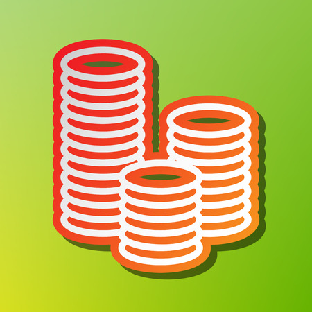 Money sign illustration. Contrast icon with reddish stroke on green backgound. Illustration