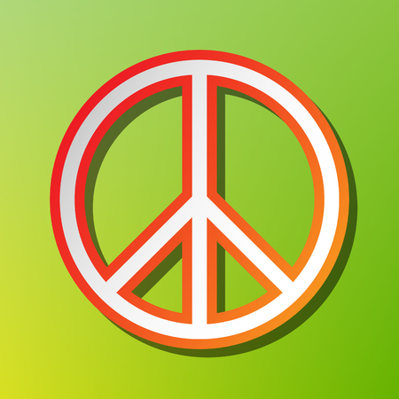 pacificist: Peace sign illustration. Contrast icon with reddish stroke on green backgound. Illustration
