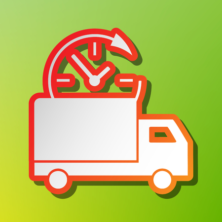 semitruck: Delivery sign illustration. Contrast icon with reddish stroke on green backgound.