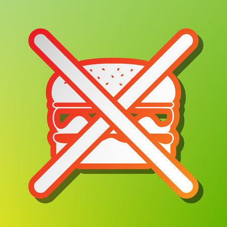 No burger sign. Contrast icon with reddish stroke on green backgound.