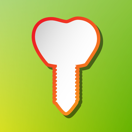 Tooth implant sign illustration. Contrast icon with reddish stroke on green backgound.