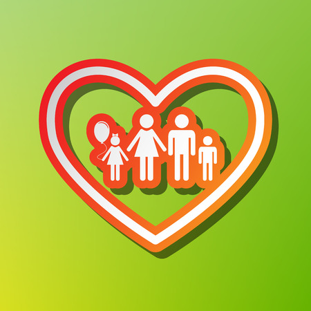 siloette: Family sign illustration in heart shape. Contrast icon with reddish stroke on green backgound. Illustration