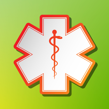 Medical symbol of the Emergency or Star of Life. Contrast icon with reddish stroke on green backgound.