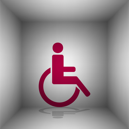 disabled sign: Disabled sign illustration. Bordo icon with shadow in the room.