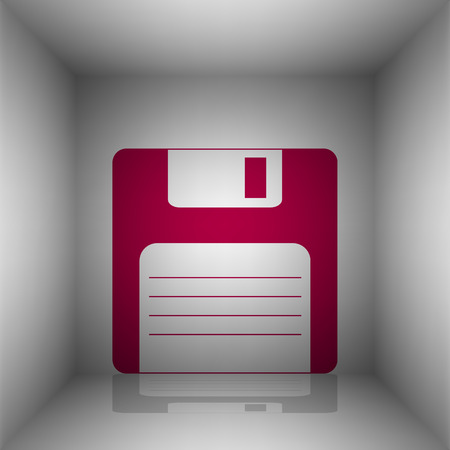 old pc: Floppy disk sign. Bordo icon with shadow in the room.