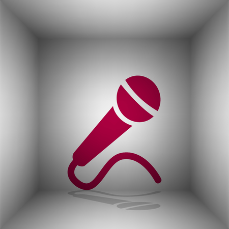 Microphone sign illustration. Bordo icon with shadow in the room. Illustration