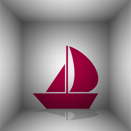 Sail Boat sign. Bordo icon with shadow in the room.