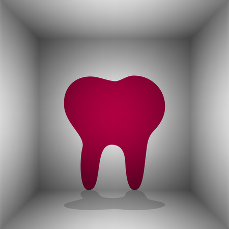 Tooth sign illustration. Bordo icon with shadow in the room.