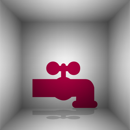 spew: Water faucet sign illustration. Bordo icon with shadow in the room.