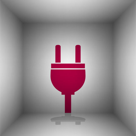 voltage sign: Socket sign illustration. Bordo icon with shadow in the room.