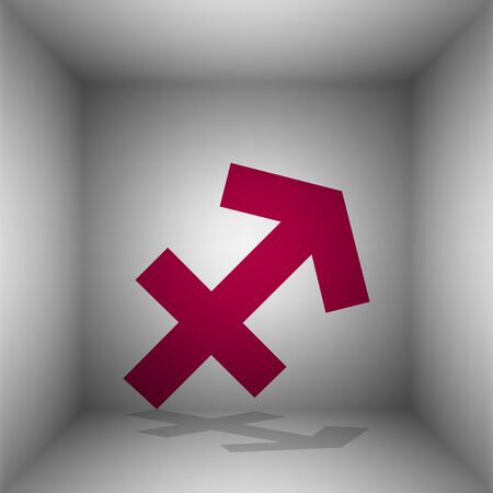 Sagittarius sign illustration. Bordo icon with shadow in the room.