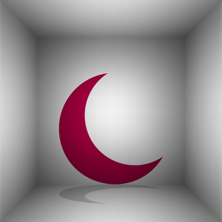 Moon sign illustration. Bordo icon with shadow in the room.