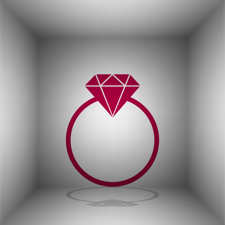 Diamond sign illustration. Bordo icon with shadow in the room.