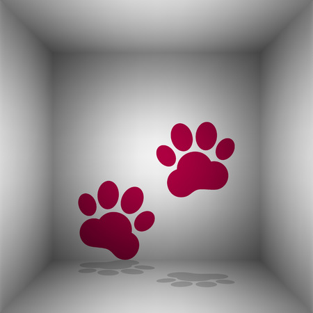 Animal Tracks sign. Bordo icon with shadow in the room. Illustration