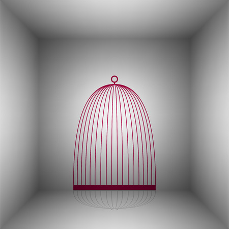 Bird cage sign. Bordo icon with shadow in the room.