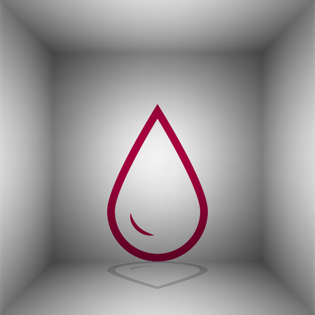 refuel: Drop of water sign. Bordo icon with shadow in the room.