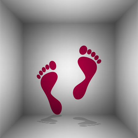 Foot prints sign. Bordo icon with shadow in the room. Illustration