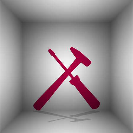 Tools sign illustration. Bordo icon with shadow in the room.