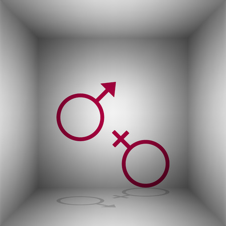 Sex symbol sign. Bordo icon with shadow in the room. Illustration