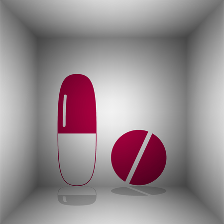Medical pills sign. Bordo icon with shadow in the room. Vectores