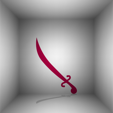longsword: Sword sign illustration. Bordo icon with shadow in the room.