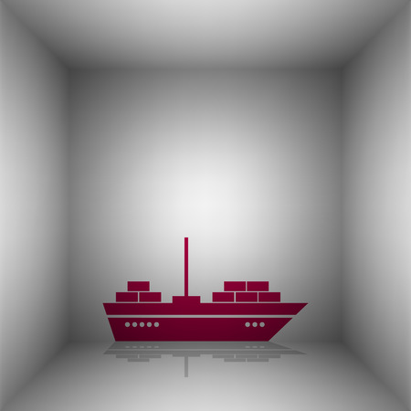 brigantine: Ship sign illustration. Bordo icon with shadow in the room.