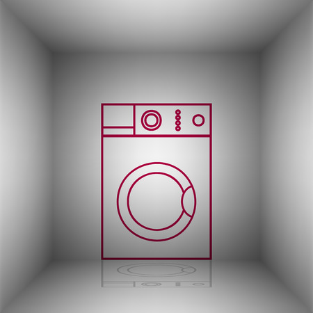 major household appliance: Washing machine sign. Bordo icon with shadow in the room.