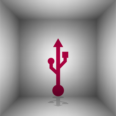 storage compartment: USB sign illustration. Bordo icon with shadow in the room.