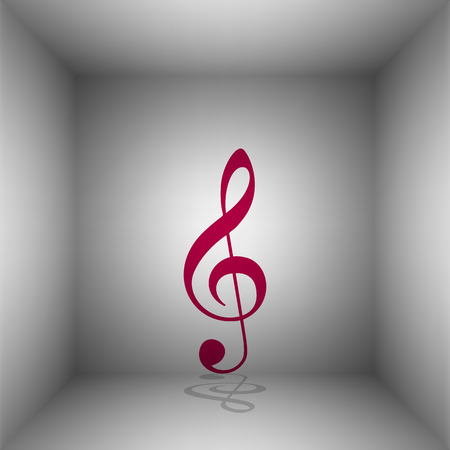 Music violin clef sign. G-clef. Treble clef. Bordo icon with shadow in the room. Illustration