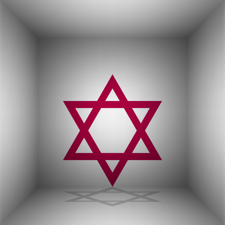 Shield Magen David Star. Symbol of Israel. Bordo icon with shadow in the room. Illustration