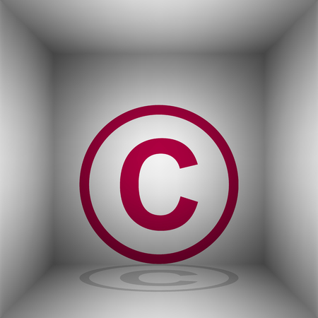 Copyright sign illustration. Bordo icon with shadow in the room. Illustration