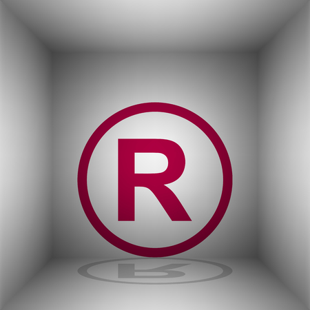 Registered Trademark sign. Bordo icon with shadow in the room.