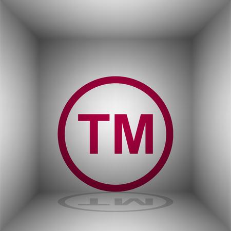 Trade mark sign. Bordo icon with shadow in the room. Фото со стока - 105606597