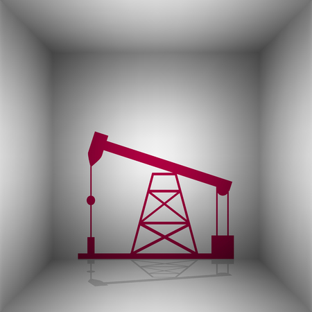 sea pollution: Oil drilling rig sign. Bordo icon with shadow in the room. Illustration