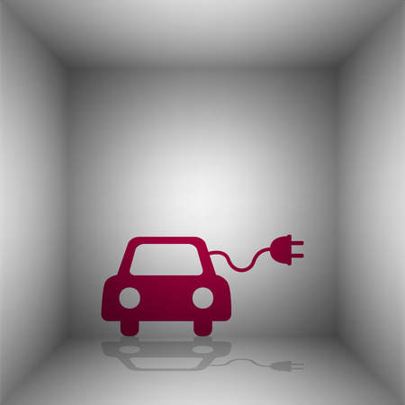 echnology: Eco electric car sign. Bordo icon with shadow in the room.