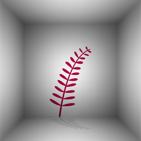 mediterranean diet: Olive twig sign. Bordo icon with shadow in the room. Illustration